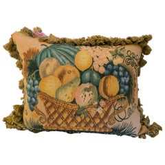 One 1920s Aubusson Tapestry Pillow, Excellent Condition and Velvet Back
