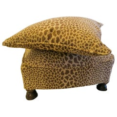 Newly Upholstered Vintage 1920s Hot To Trot Cheetah Ottoman and Pillow to Match