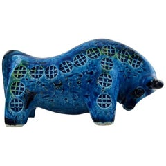 Bitossi, Rimini Blue Bull in Ceramics, Designed by Aldo Londi, 1960s