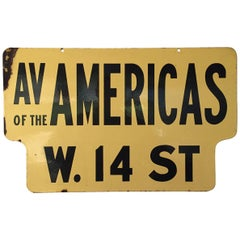 Old New York 1950s Porcelain Enamel 6th Avenue and West 14th Street Sign