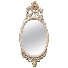 Northern European Oval Carved Wood Mirror with White Frame, early 19th century