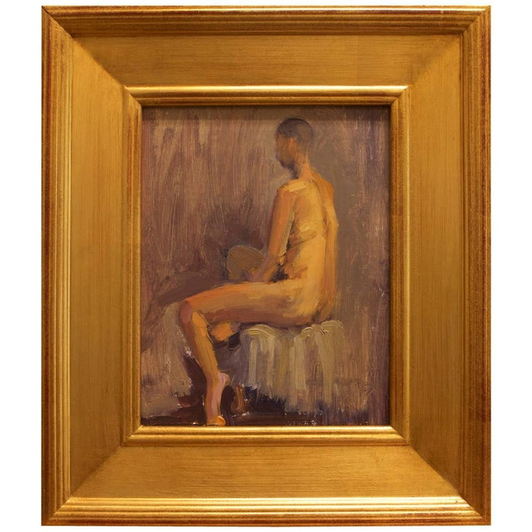 "Framed Nude Oil on Linen Panel ""Amanda II"" by Michael Reibel, circa 2016"