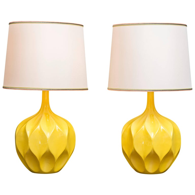 Mid-Century Yellow Lamps For Sale