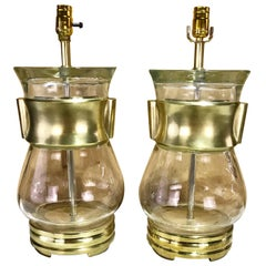 Pair of Midcentury Hu Style Brass and Murano Glass Lamps