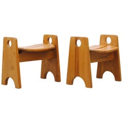 Pair of Gilbert Marklund Swedish Pine Stools
