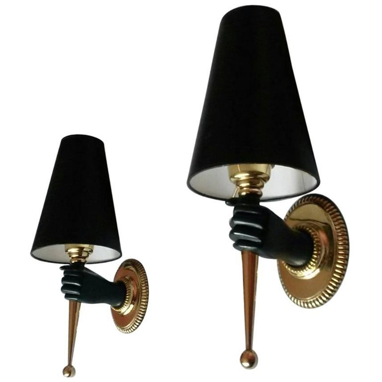 French Mid-Century Modern Bronze Pair of Sconces by Maison Jansen, 1950s