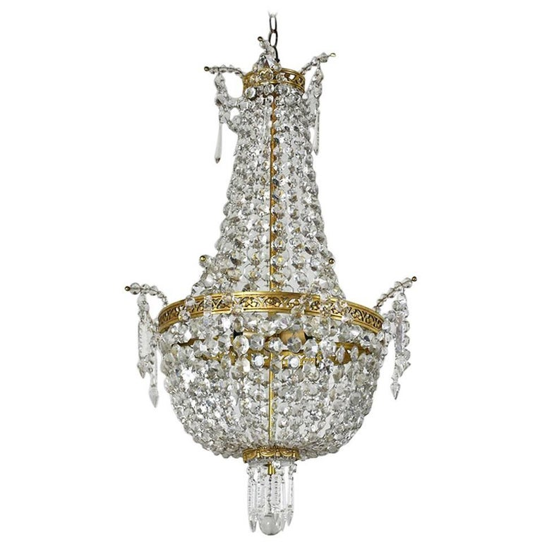 Antique Hollywood Regency-Style Brass and Crystal Basket Chandelier