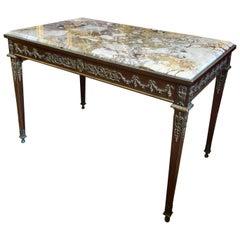 Louis XVI Style Marble and Bronze Ormolu Mounted Desk