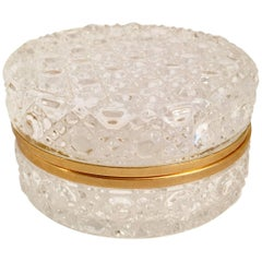 Round Glass Box with Brass Detail and Closure
