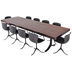 Reclaimed Hardwood Table on Sand Cast Brass Base with Ten Chairs, P. Tendercool