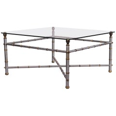 Metal Faux Bamboo, Chrome and Brass Base, Glass-Top Square Coffee Table