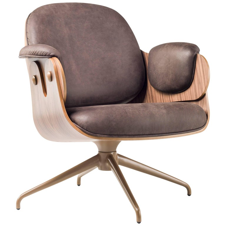 Low Lounger, Swivel Wooden Armchair upholstered in leather by Jaime Hayon For Sale