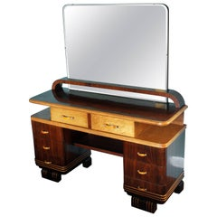 Art Deco Vanity Venereed Rosewood and Maple with Bakelite Handles, Italy, 1930s