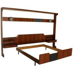 Double Bed with Hanging Bedside Tables Rosewood Veneer Vintage, Italy, 1960s