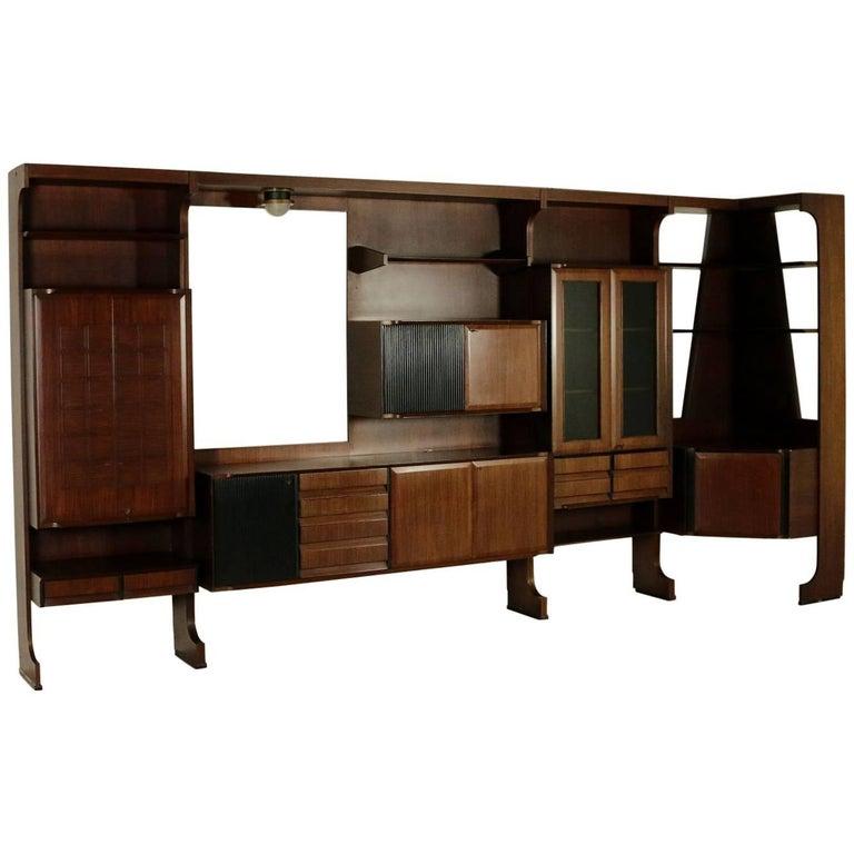 Living Room Wardrobe Rosewood Veneer Vintage Manufactured in Italy, 1960s For Sale