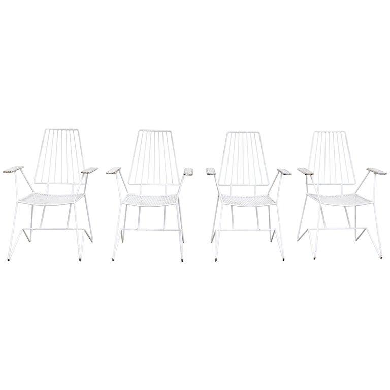 Set of Four Mathieu Matégot Garden Chairs