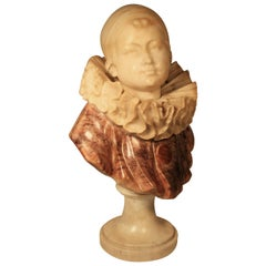 Guglielmo Pugi Fine Carved Alabaster Sculpture of a Young Pierrot