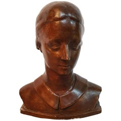 Plaster Bust of a Lady Signed Martens and Dated 1933