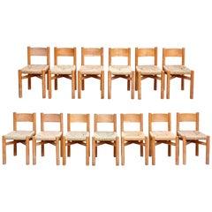 Set of 13 Charlotte Perriand Meribel Chairs, circa 1950
