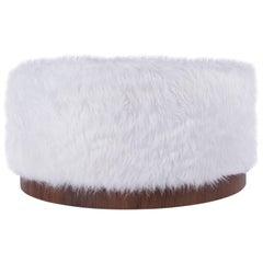 Walnut and Faux Fur Ottoman