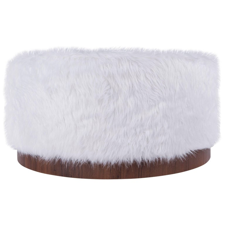 Walnut and Faux Fur Ottoman For Sale