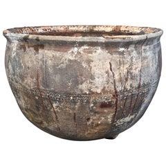 Very Large Round French Glazed Terracotta Pot
