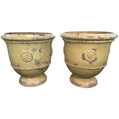 Pair of Large French Yellow-Glazed Terracotta Planters