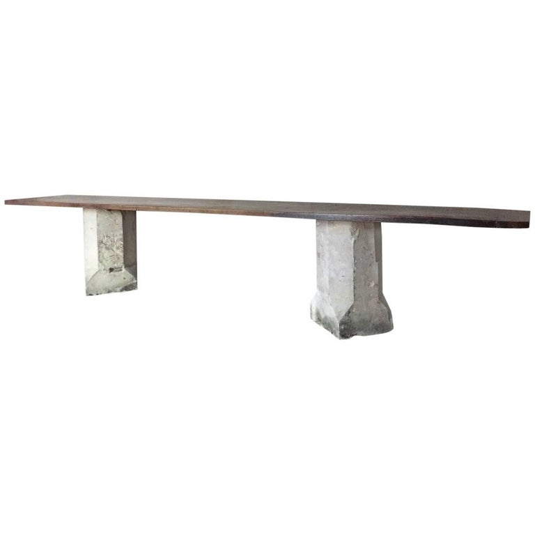 Walnut and Stone Console Table