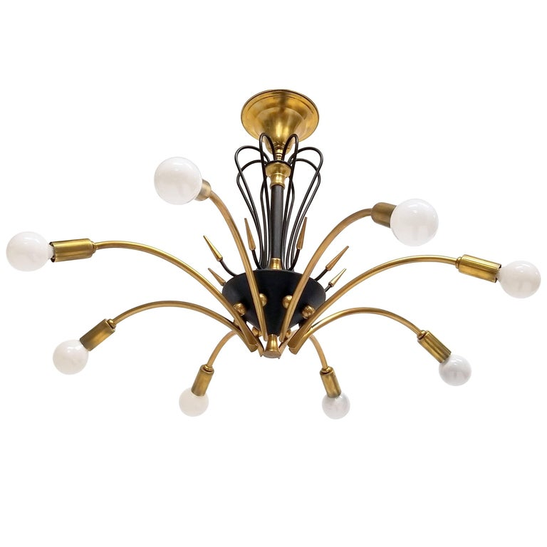 1950s Italian Eight-Arm Brass Spider-Leg Chandelier