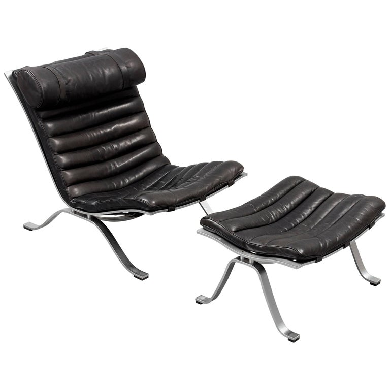 Arne Norell Ari Easy Chair and Ottoman in Black Leather by Norell Mobel, Sweden