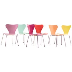 Set of Six Series Chairs Model 3107 by Arne Jacobsen for Fritz Hansen