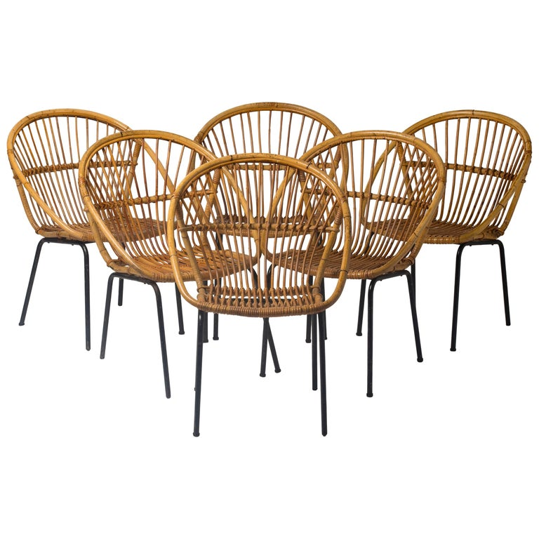 Set of Six Rattan Chairs on Black Lacquered Iron Bases, Netherlands, 1950 Period
