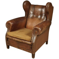 Large Leather Wingback Chair from Denmark, circa 1930