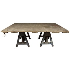 Large Dining Table with Sawhorse Base, circa 1920