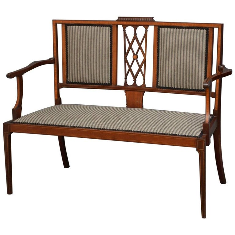 Edwardian Mahogany and Inlaid Settee For Sale