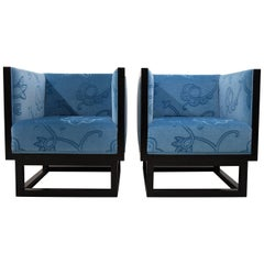 Josef Hoffmann Blue Cabinett Lounge Chairs