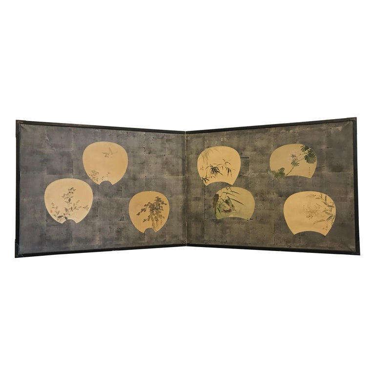Two-Panel Japanese Screen with Scattered Fans For Sale