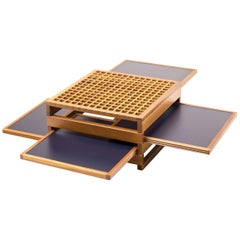Italian Cherry Coffee Table with Extending Trays