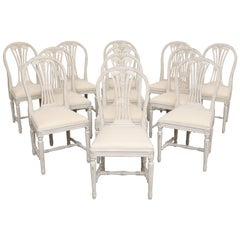 Set of 12 Painted Gustavian Style Dining Chairs Early 20th Century