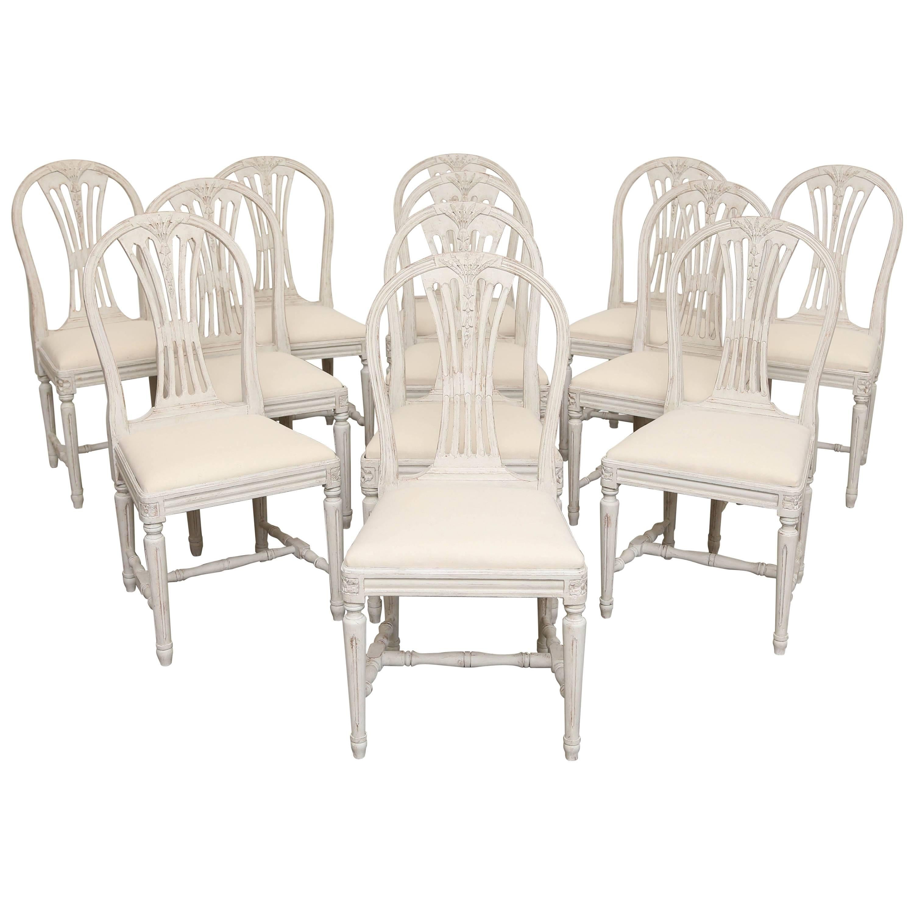Set Of 12 Painted Gustavian Style Dining Chairs Early 20th Century For Sale