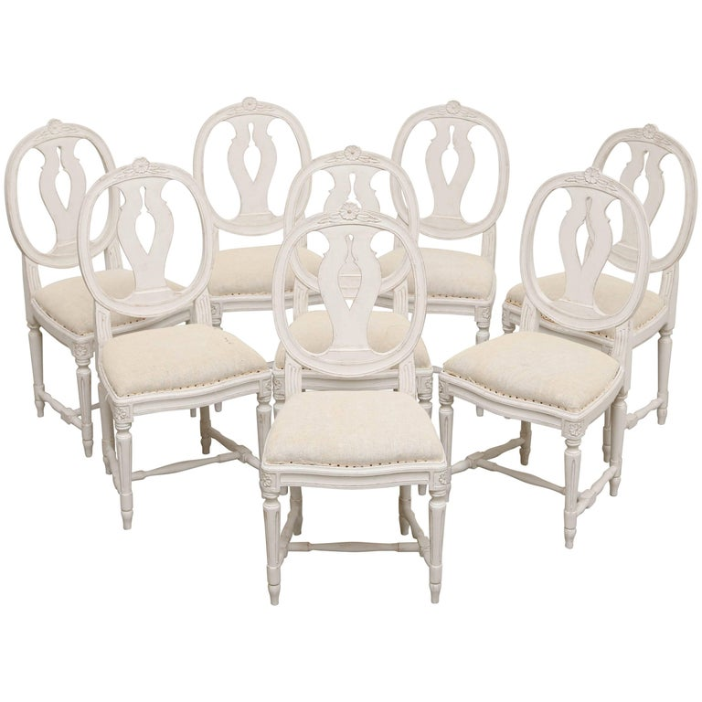 Set of Eight Antique Swedish Gustavian Style Painted Dining Chairs