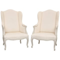 Pair of Antique Swedish Rocco Style Wing Chairs, Late 19th Century