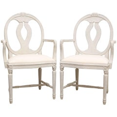 Pair of Swedish Gustavian Style Painted Arm Chairs Early 20th Century