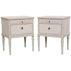 Antique Swedish Painted Pair of Nightstands, Early 20th Century