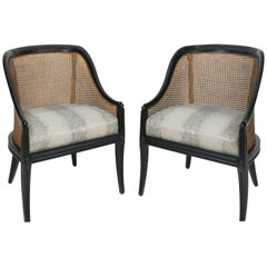 Vintage Regency Caned Black Gondola Chairs with Faux Snakeskin