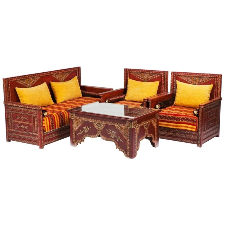 Four Piece Moroccan Berber Tribal Hand Painted Living Room Set For Sale At 1stdibs