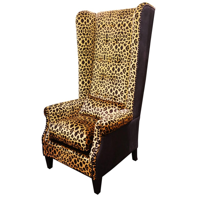 Leopard Armchair With Black Nubuck Leather And Velvet Fabric For