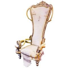 Croco White King Armchair