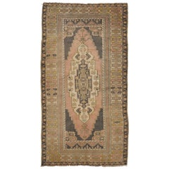 Vintage Oushak Area Rug In Soft Aqua Blue Teal Rust And