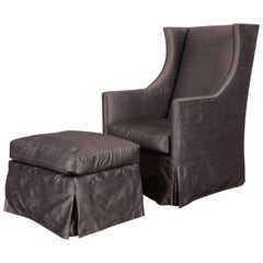 Modern Wing Chair and Ottoman